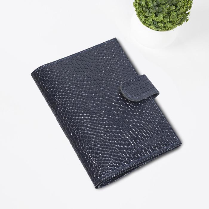 Обложка для паспорта и автодокументов, цвет синяя змея
