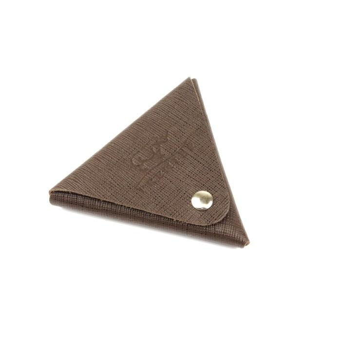 Футляр для монет F-63, кнопка, коричнево-серый, сафьян
