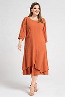 Женское летнее из вискозы оранжевое большого размера платье Панда 38680z терракотовый 52р.