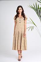 Женское летнее платье SandyNa 13933 песочно-черный 44р.