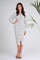 Женское осеннее хлопковое платье SandyNa 13939 белый-С_дизайн 44р.