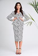 Женское осеннее хлопковое платье SandyNa 13939 бело-черный_камни 44р.