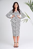 Женское осеннее хлопковое платье SandyNa 13939 бело-черный_камни 52р.