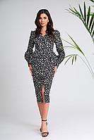 Женское осеннее хлопковое платье SandyNa 13939 черно-белый_камни 44р.
