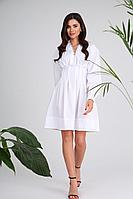 Женское летнее хлопковое белое платье SandyNa 13978 белый 44р.