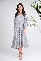Женское осеннее платье SandyNa 13970 серый+черный_горох 44р.