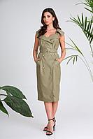 Женское осеннее кожаное зеленое платье SandyNa 13971 фисташка 44р.