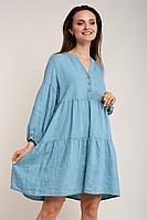 Женское летнее льняное голубое платье Ружана 451-2 голубая-ель 40р.
