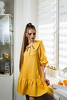 Женское летнее льняное желтое платье Natali Tushinskaya 0070(ж) 42р.