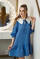 Женское летнее льняное синее платье Natali Tushinskaya 0070(л) 42р.