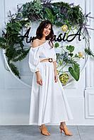 Женская летняя хлопковая белая большого размера платье и пояс Anastasia 629 белый 48р.