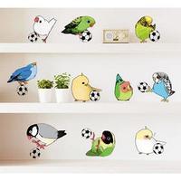 Наклейка пластик интерьерная цветная 'Попугайчики и футбольный мяч' 50х70 см