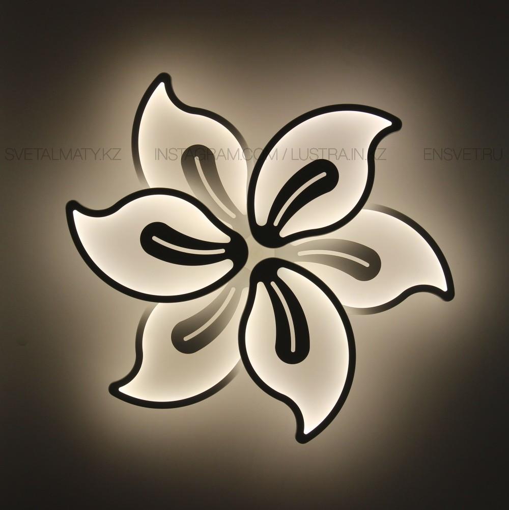 """Современная LED люстра с пультом 3 режима, """"Цветок"""", мощность 120w, цвет белый"""