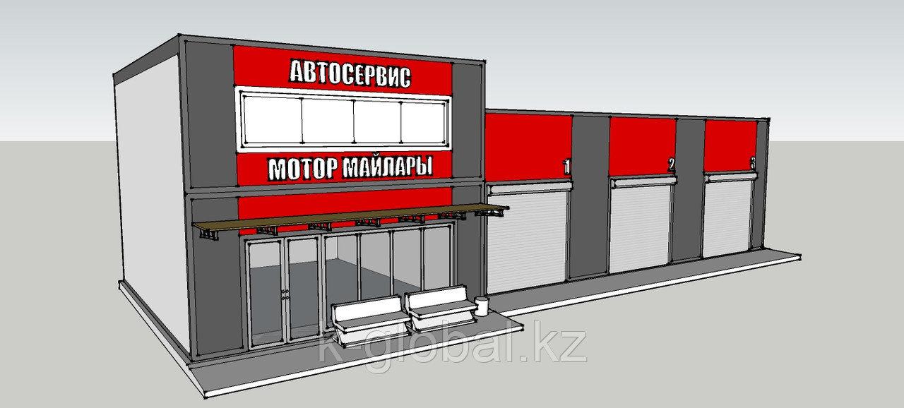 Пункт замены масла на 3 поста за 28 дней под ключ в Алматы, утепленный из сэндвич-панелей