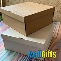 Подарочная картонная коробка для упаковки 25х25х10 см Бурый