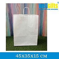 Крафт-пакет с ручкой 45х35х15 см, Белый