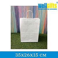 Крафт-пакет с ручкой 35х26х15 см, Белый