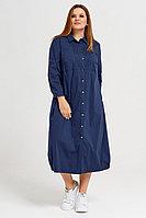 Женское летнее хлопковое синее большого размера платье Панда 42080z синий 56р.