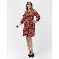 Платье женское, размер 50-52, цвет тёмно-красный
