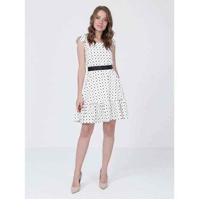 Платье женское, размер 48, цвет молочный, коричневый