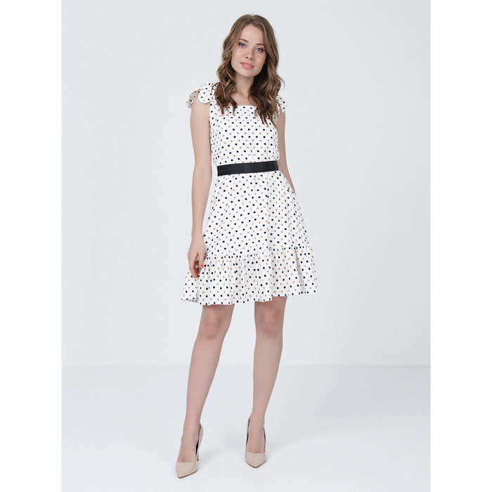 Платье женское, размер 46, цвет молочный, коричневый