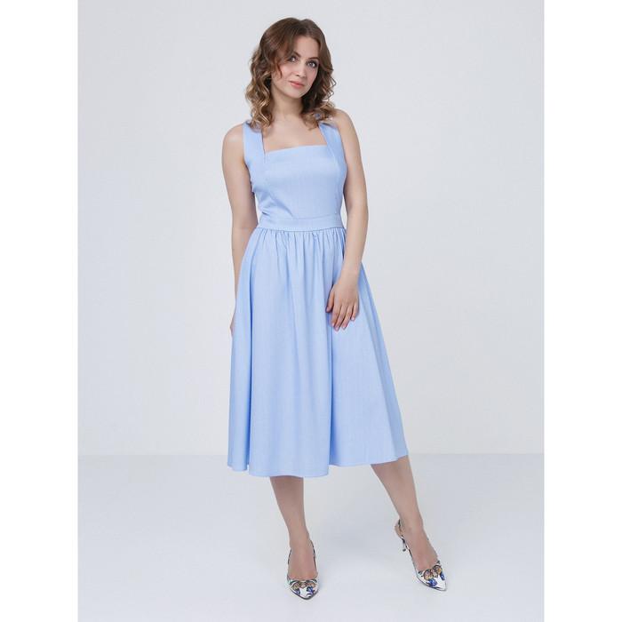 Платье женское, размер 42, цвет голубой, белый