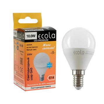Лампа светодиодная Ecola globe LED Premium, G45, 10 Вт, E14, 4000 K, шар, 82x45 мм