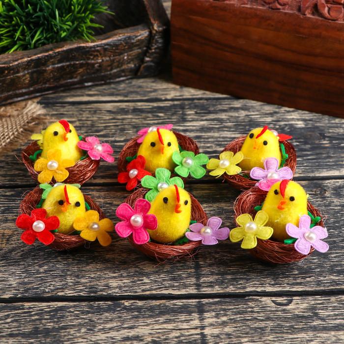 """Сувенир пасхальный """"Цыплёнок в гнезде с цветами"""" набор 6 шт 3х4х4 см"""