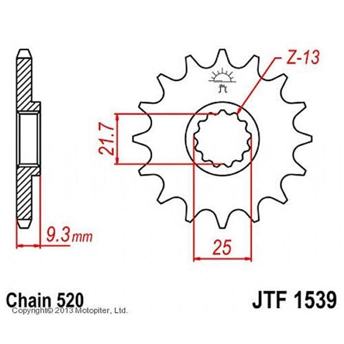 Звезда передняя, ведущая, JTF1539 для мотоцикла, стальная