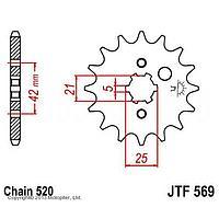 Звезда передняя, ведущая, JTF569 для мотоцикла, стальная