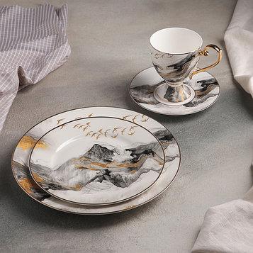 Набор столовый «Марбл», 4 предмета: кружка 220 мл, тарелки d=25,5/20,5/15,5 см