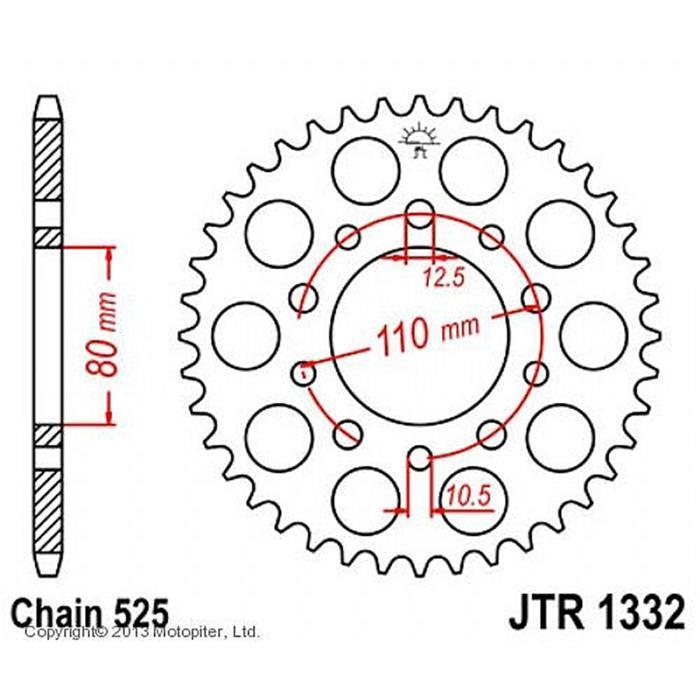 Звезда задняя, ведомая, JTR1332 для мотоцикла стальная