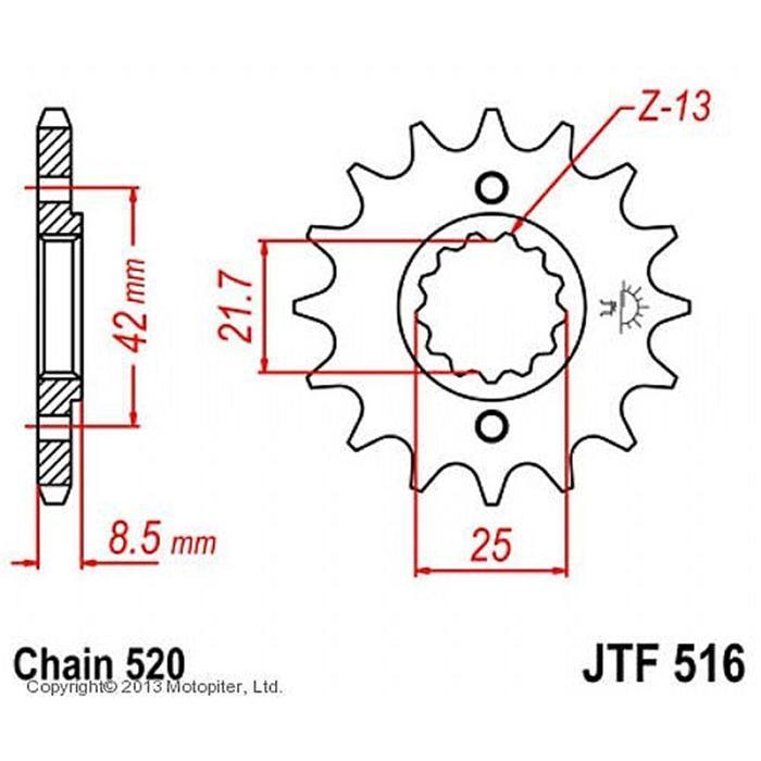 Звезда передняя (ведущая) JTF516 для мотоцикла, стальная