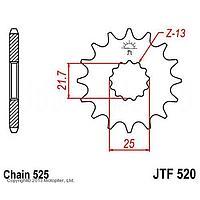 Звезда передняя (ведущая) JTF520 для мотоцикла, стальная