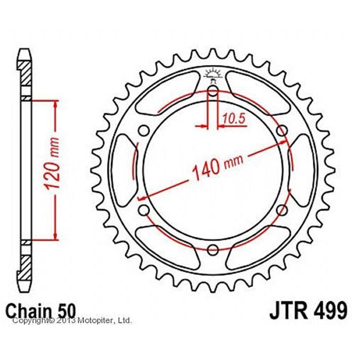 Звезда задняя (ведомая) JTR499 для мотоцикла стальная