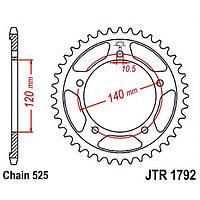 Звезда задняя, ведомая, JTR1792 для мотоцикла стальная
