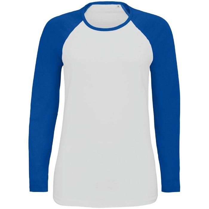 Футболка женская с длинным рукавом MILKY LSL, размер M, цвет белый, ярко-синий