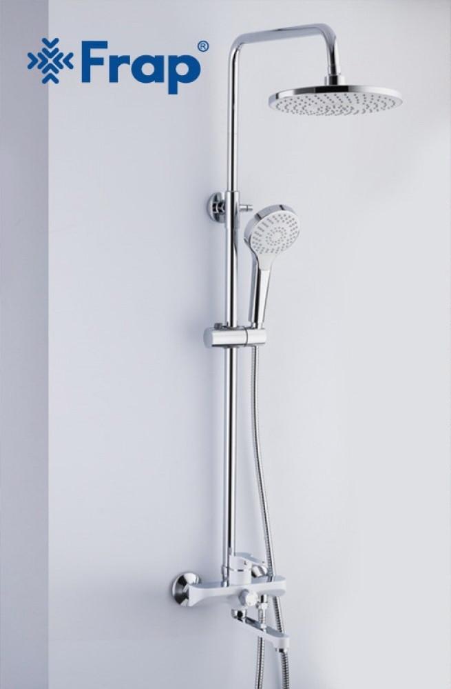 Душевая стойка с тропическим душем Frap 2441 белый