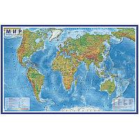 """Карта """"Мир"""" физическая Globen, 1:25млн., 1200*780мм, интерактивная, европодвес КН047"""