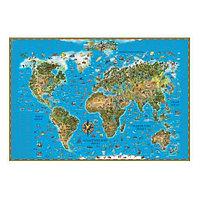 Карта мира для детей.Мягкая обложка.Размер 116*79 см