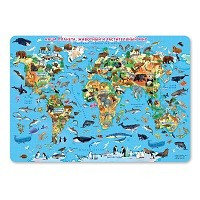 Карта настенная А2 Карта мира Животные и растения 8&8