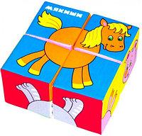 "Игрушка кубики ""Собери картинку"" (Животные - 2) Мякиши, размер 160x160x80 мм"