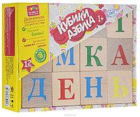Кубики деревянные AlaToys Азбука 12шт не окрашенн.185*145*50