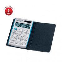 Калькулятор карманный Citizen CPC-110VBL, 10 разрядный, двойное питание, 105*64*10, белый-голубой