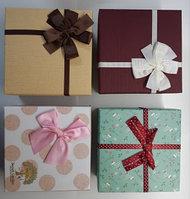Коробка подарочная с бантом 16.5 х 16.5 х 8 см Ассорти