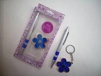 Набор подарочная Ручка+брелок в виде цветочка с блестками
