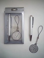 Набор подарочная Ручка+брелок круглый со стразами с подвеской