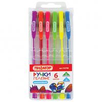 Набор ручкек гелевых неоновые 6 цветов Пифагор