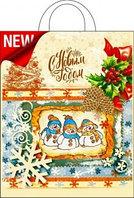 Пакет ПЭ подарочный 28*35 ручка петля Три снеговика