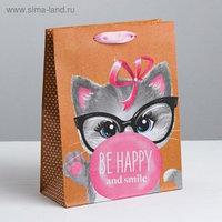 Пакет подарочный «Be happy and smile», 23х27х8см